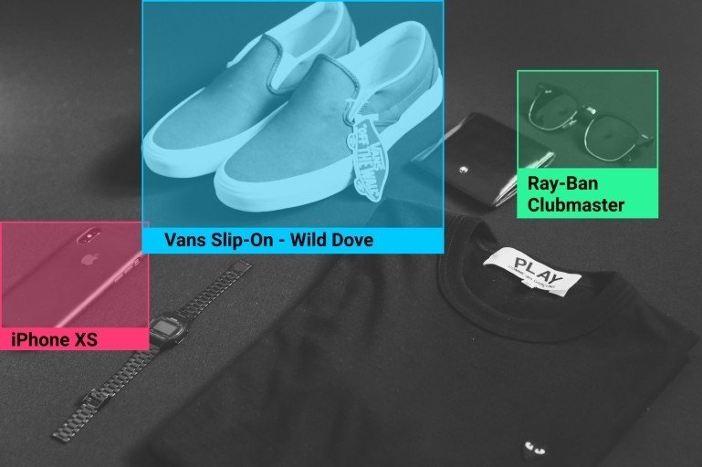 Brands: vans, iPhone, Raybans, shoes, watch, phone, shirt